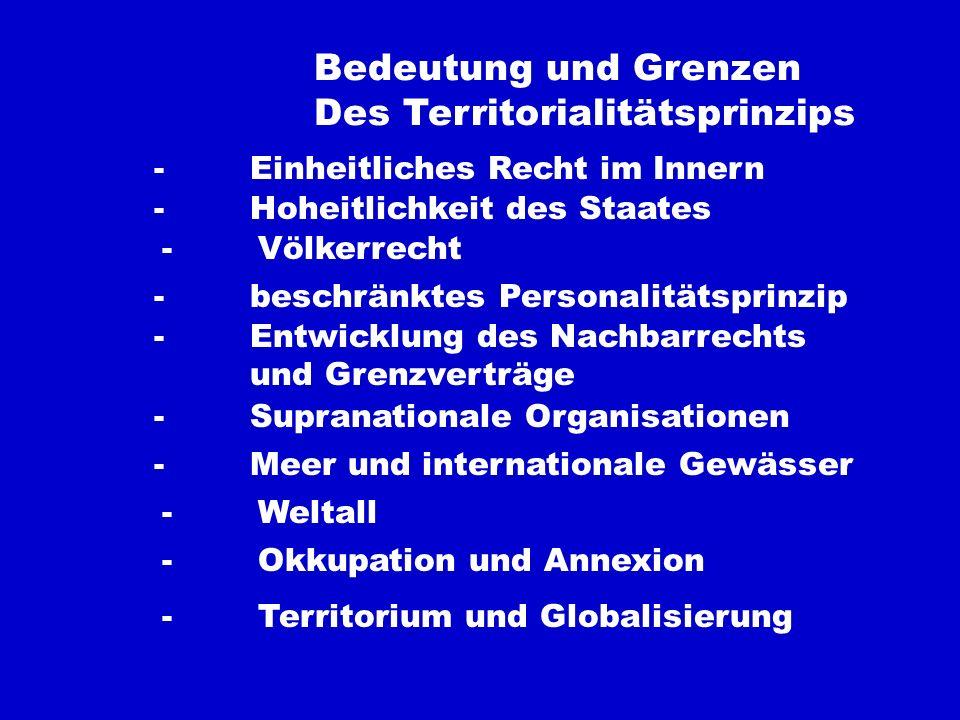 Territorium -Personalitätsprinzip - Territorialitätsprinzip -Imperium - Dominium -Kirche und Staat -Zentralisierung - Dezentralisierung