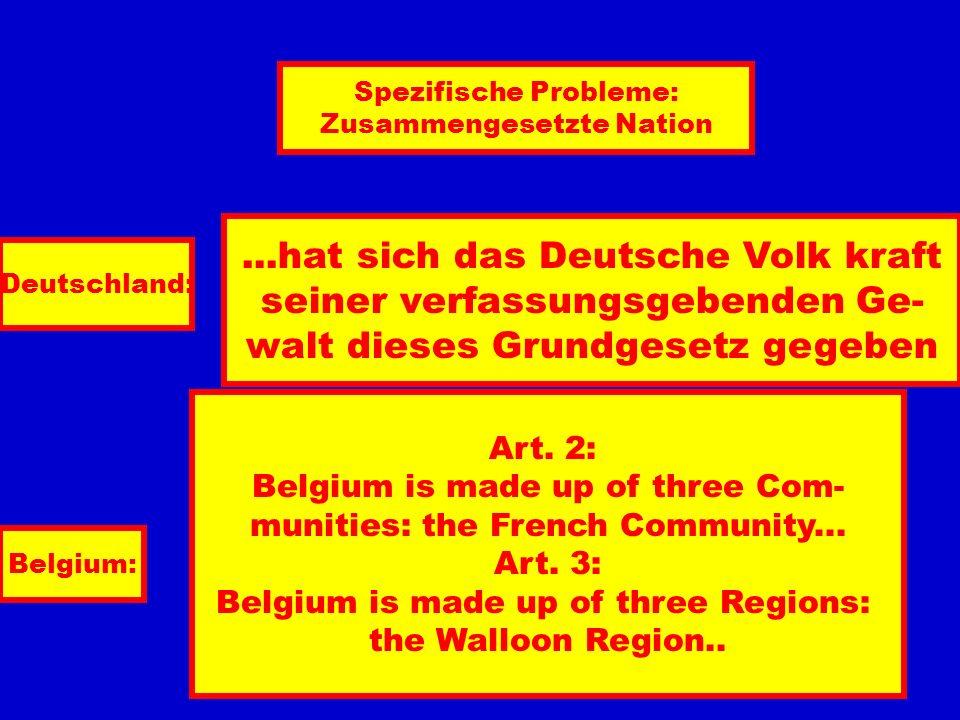 Spezifische Probleme: Zusammengesetzte Nation Deutschland:...hat sich das Deutsche Volk kraft seiner verfassungsgebenden Ge- walt dieses Grundgesetz gegeben Belgium: Art.