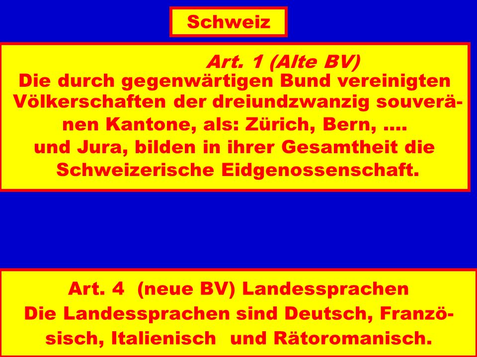 Art. 1 (Alte BV) Die durch gegenwärtigen Bund vereinigten Völkerschaften der dreiundzwanzig souverä- nen Kantone, als: Zürich, Bern, …. und Jura, bild