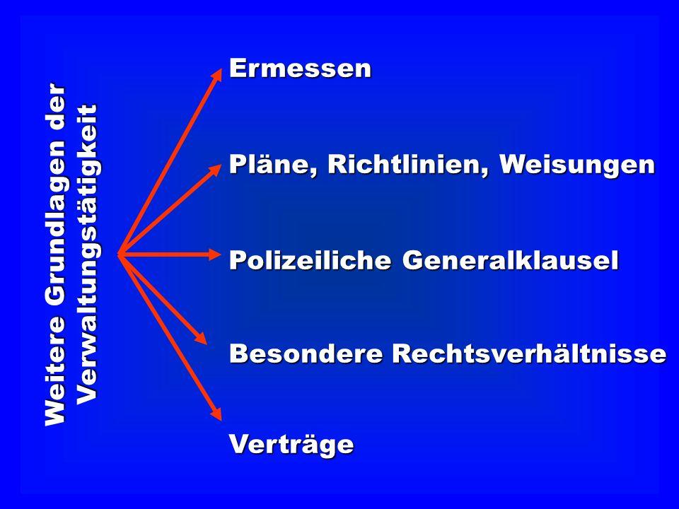 Verwaltungstätigkeit Ermessen Polizeiliche Generalklausel Besondere Rechtsverhältnisse Verträge Pläne, Richtlinien, Weisungen