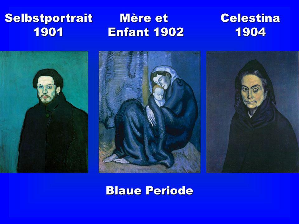 Lebensphasen von Picasso Tête de femme 1935 Selbstportrait 1972 Femme au Chapeau 1962 Le Picador 1888 Maison sur Colline 1909