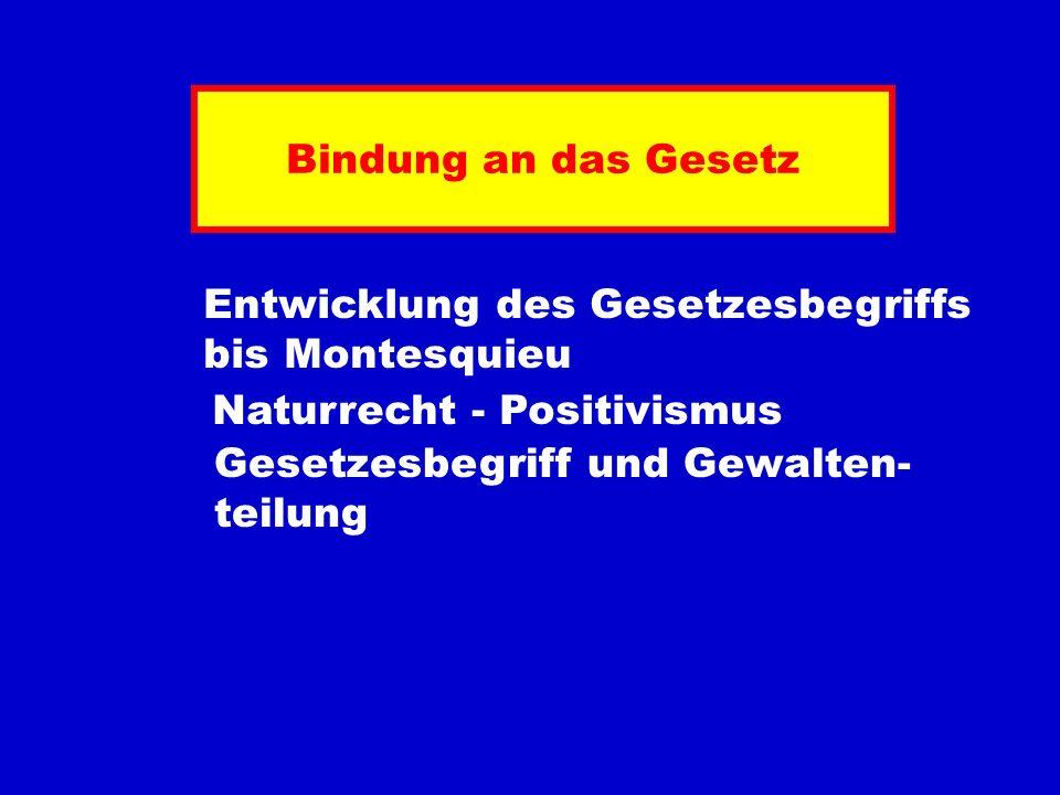 Bindung an das Gesetz Entwicklung des Gesetzesbegriffs bis Montesquieu Naturrecht - Positivismus Gesetzesbegriff und Gewalten- teilung