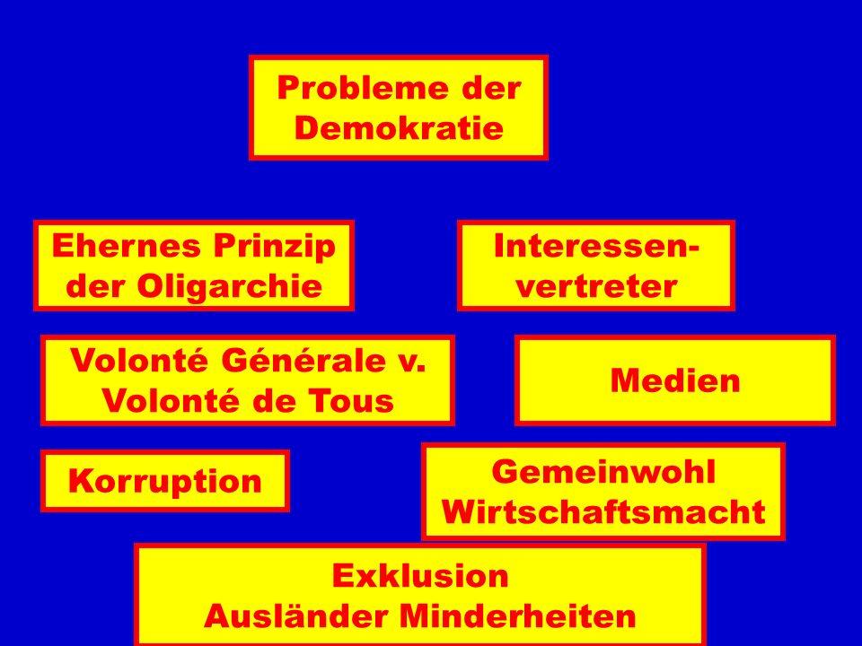 Probleme der Demokratie Interessen- vertreter Ehernes Prinzip der Oligarchie Korruption Gemeinwohl Wirtschaftsmacht Exklusion Ausländer Minderheiten V