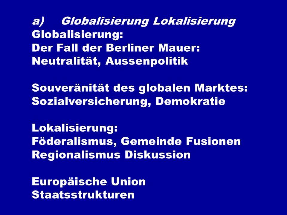 a)Globalisierung Lokalisierung Globalisierung: Der Fall der Berliner Mauer: Neutralität, Aussenpolitik Souveränität des globalen Marktes: Sozialversicherung, Demokratie Lokalisierung: Föderalismus, Gemeinde Fusionen Regionalismus Diskussion Europäische Union Staatsstrukturen