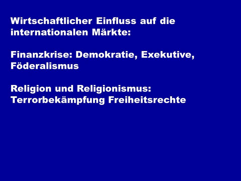 Wirtschaftlicher Einfluss auf die internationalen Märkte: Finanzkrise: Demokratie, Exekutive, Föderalismus Religion und Religionismus: Terrorbekämpfung Freiheitsrechte