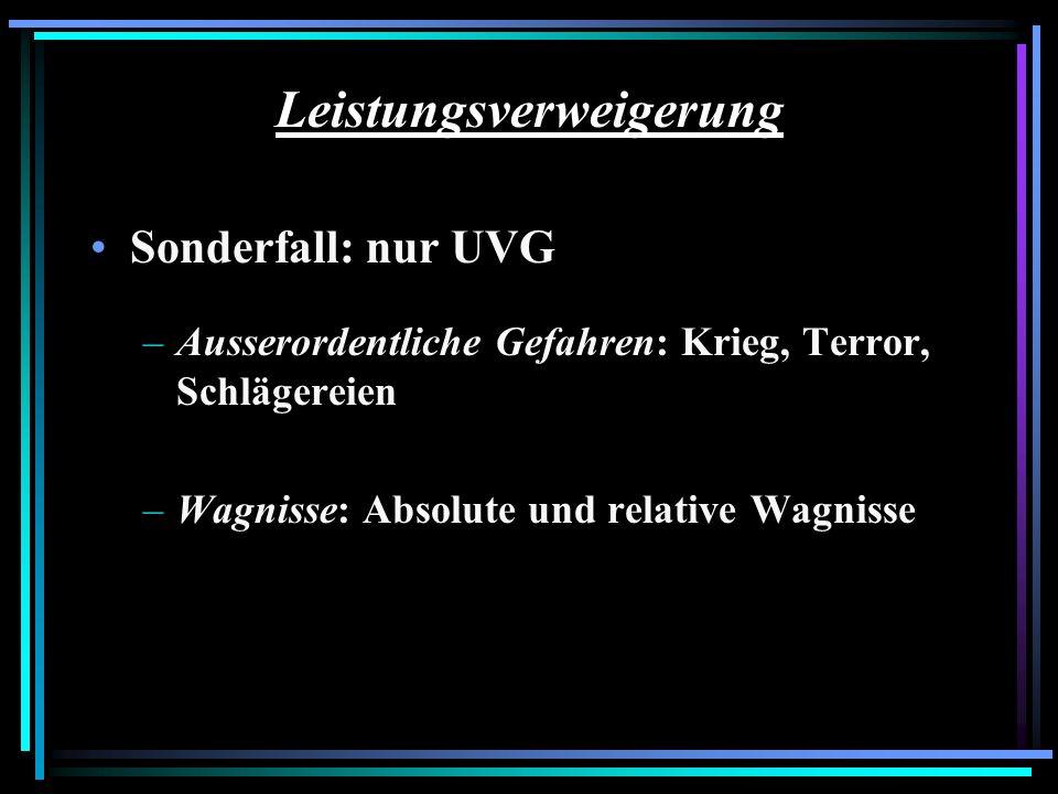 Leistungsverweigerung Sonderfall: nur UVG –Ausserordentliche Gefahren: Krieg, Terror, Schlägereien –Wagnisse: Absolute und relative Wagnisse