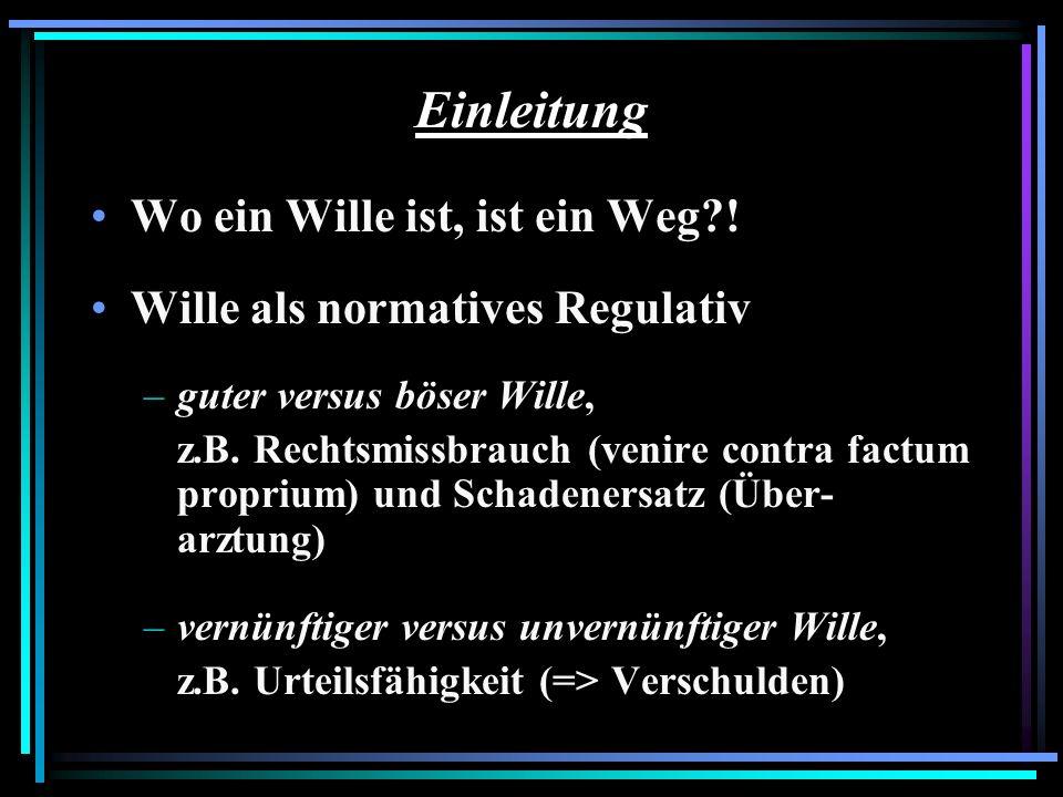 Einleitung Wo ein Wille ist, ist ein Weg?! Wille als normatives Regulativ –guter versus böser Wille, z.B. Rechtsmissbrauch (venire contra factum propr