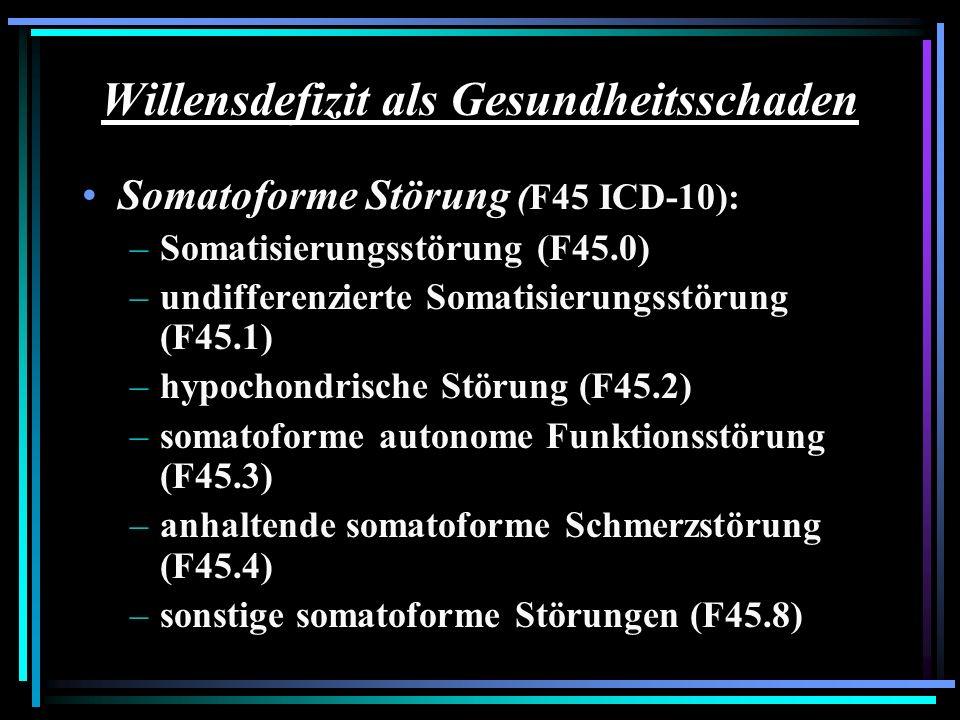 Willensdefizit als Gesundheitsschaden Somatoforme Störung (F45 ICD-10): –Somatisierungsstörung (F45.0) –undifferenzierte Somatisierungsstörung (F45.1)