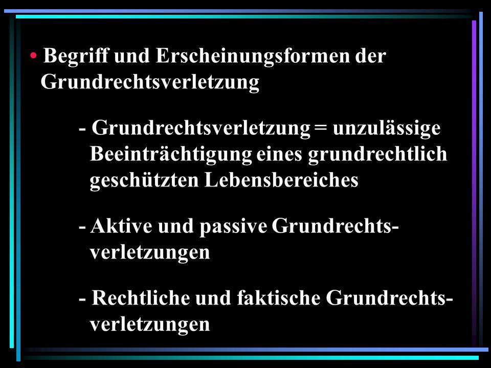 Begriff und Erscheinungsformen der Grundrechtsverletzung - Grundrechtsverletzung = unzulässige Beeinträchtigung eines grundrechtlich geschützten Lebensbereiches - Aktive und passive Grundrechts- verletzungen - Rechtliche und faktische Grundrechts- verletzungen