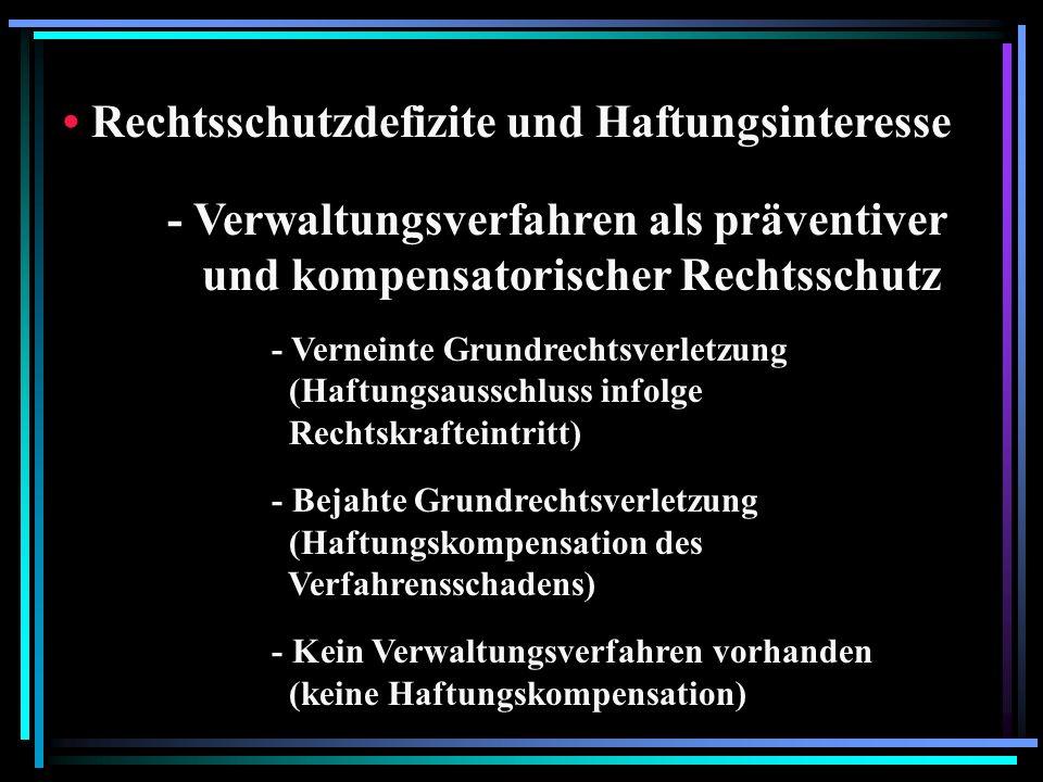 Rechtsschutzdefizite und Haftungsinteresse - Verwaltungsverfahren als präventiver und kompensatorischer Rechtsschutz - Verneinte Grundrechtsverletzung (Haftungsausschluss infolge Rechtskrafteintritt) - Bejahte Grundrechtsverletzung (Haftungskompensation des Verfahrensschadens) - Kein Verwaltungsverfahren vorhanden (keine Haftungskompensation)