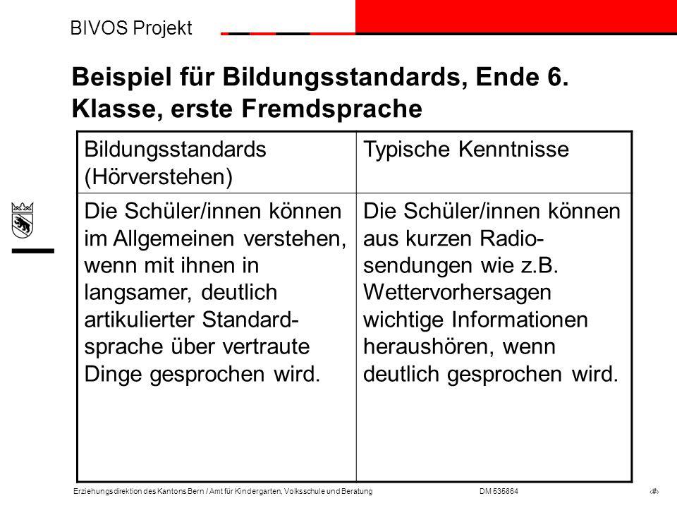 BIVOS Projekt Erziehungsdirektion des Kantons Bern / Amt für Kindergarten, Volksschule und BeratungDM 535864 # Beispiel für Bildungsstandards, Ende 6.