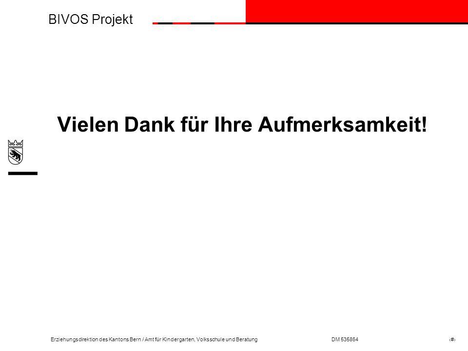 BIVOS Projekt Erziehungsdirektion des Kantons Bern / Amt für Kindergarten, Volksschule und BeratungDM 535864 # Vielen Dank für Ihre Aufmerksamkeit!