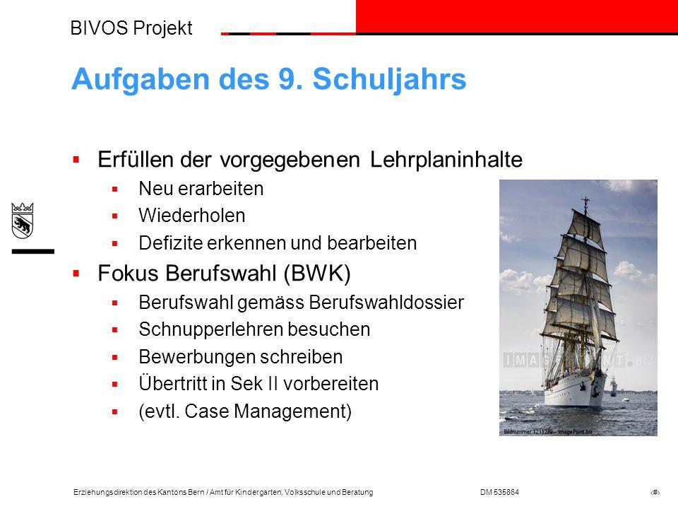 BIVOS Projekt Erziehungsdirektion des Kantons Bern / Amt für Kindergarten, Volksschule und BeratungDM 535864 # Aufgaben des 9.