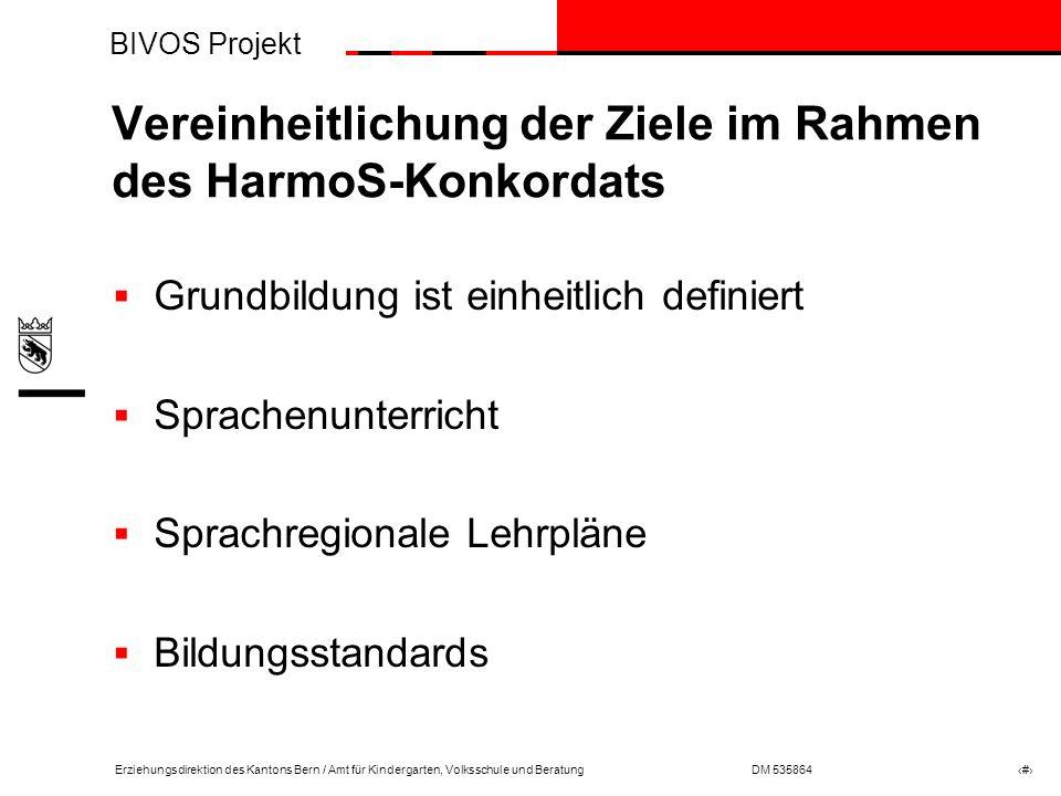 BIVOS Projekt Erziehungsdirektion des Kantons Bern / Amt für Kindergarten, Volksschule und BeratungDM 535864 # Was sind Bildungsstandards.