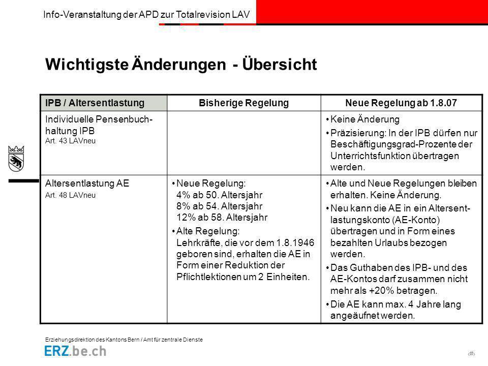 Erziehungsdirektion des Kantons Bern / Amt für zentrale Dienste # Info-Veranstaltung der APD zur Totalrevision LAV Wichtigste Änderungen - Übersicht I