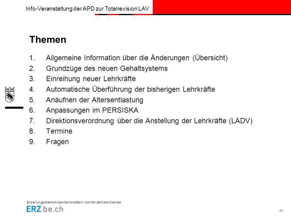 Erziehungsdirektion des Kantons Bern / Amt für zentrale Dienste # Info-Veranstaltung der APD zur Totalrevision LAV Themen 1.Allgemeine Information übe