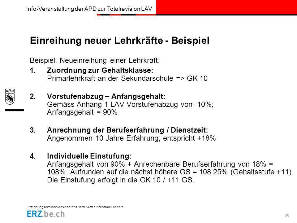Erziehungsdirektion des Kantons Bern / Amt für zentrale Dienste # Info-Veranstaltung der APD zur Totalrevision LAV Einreihung neuer Lehrkräfte - Beisp