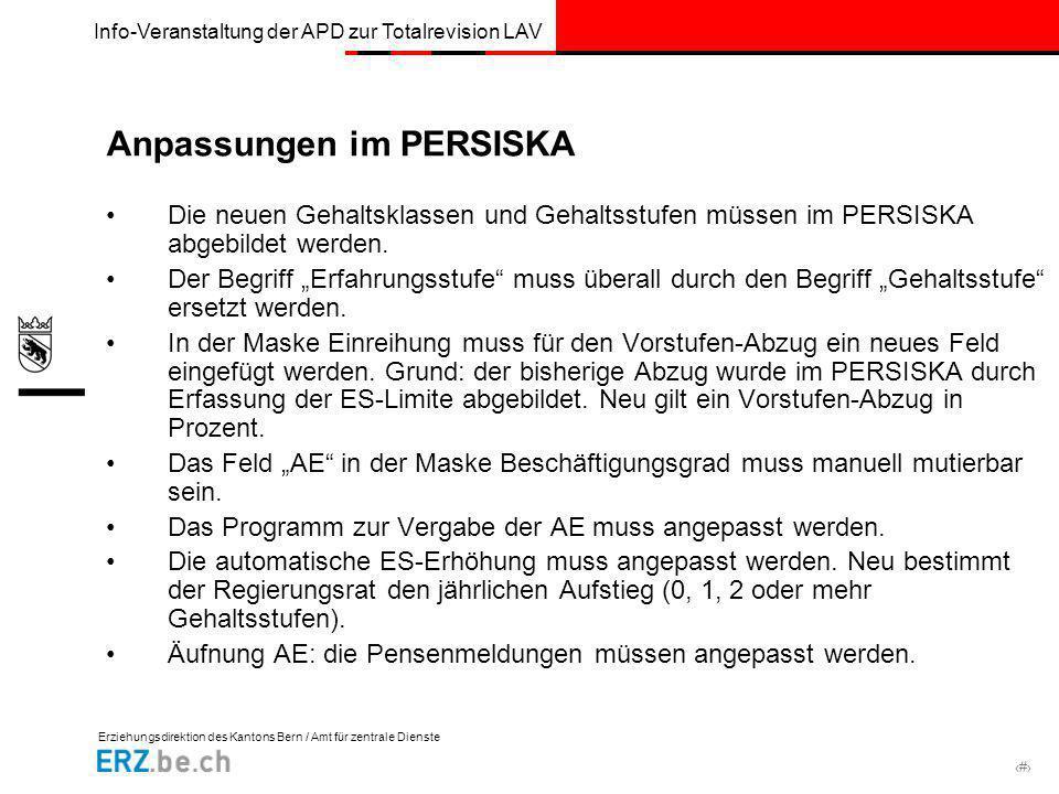 Erziehungsdirektion des Kantons Bern / Amt für zentrale Dienste # Info-Veranstaltung der APD zur Totalrevision LAV Anpassungen im PERSISKA Die neuen G