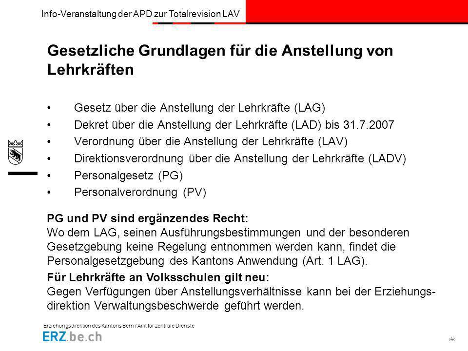 Erziehungsdirektion des Kantons Bern / Amt für zentrale Dienste # Info-Veranstaltung der APD zur Totalrevision LAV Gesetzliche Grundlagen für die Anst