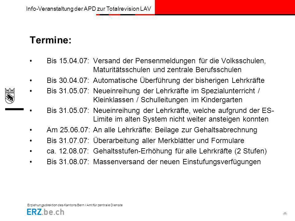 Erziehungsdirektion des Kantons Bern / Amt für zentrale Dienste # Info-Veranstaltung der APD zur Totalrevision LAV Termine: Bis 15.04.07:Versand der P