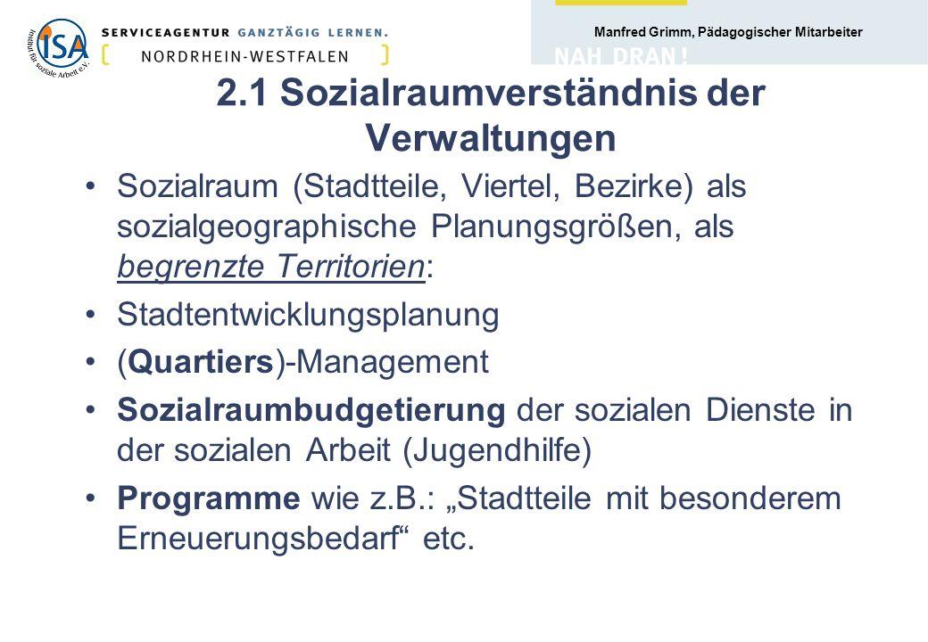 Manfred Grimm, Pädagogischer Mitarbeiter 3.3 Zusammenhang von Lebenswelt und Sozialraum Die individuellen Lebenswelten, die lebensweltlichen Bezüge z.B.