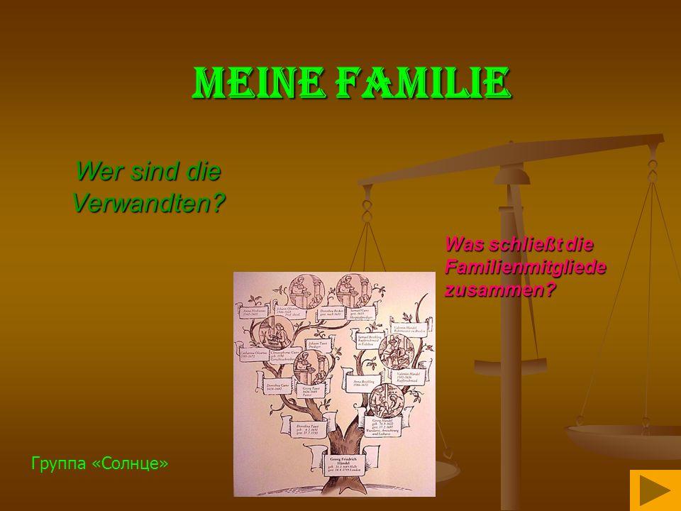 Meine Familie Was schließt die Familienmitgliede zusammen? Wer sind die Verwandten? Группа «Солнце»