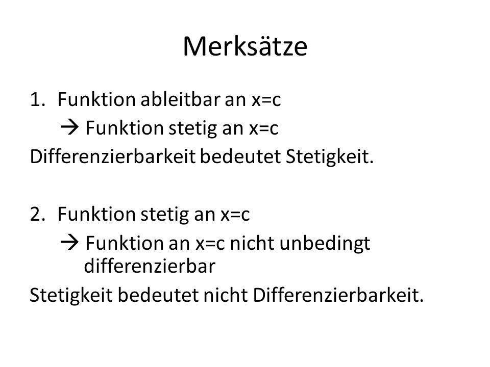 Merksätze 1.Funktion ableitbar an x=c Funktion stetig an x=c Differenzierbarkeit bedeutet Stetigkeit.