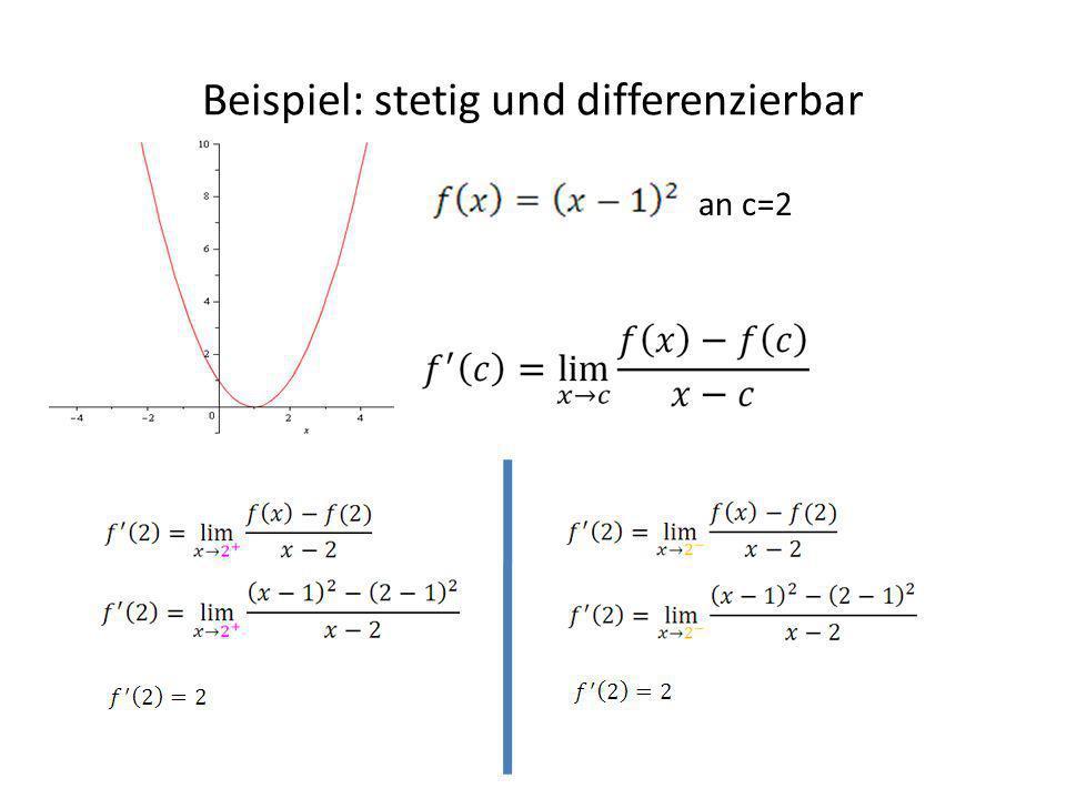 Beispiel: stetig und differenzierbar an c=2