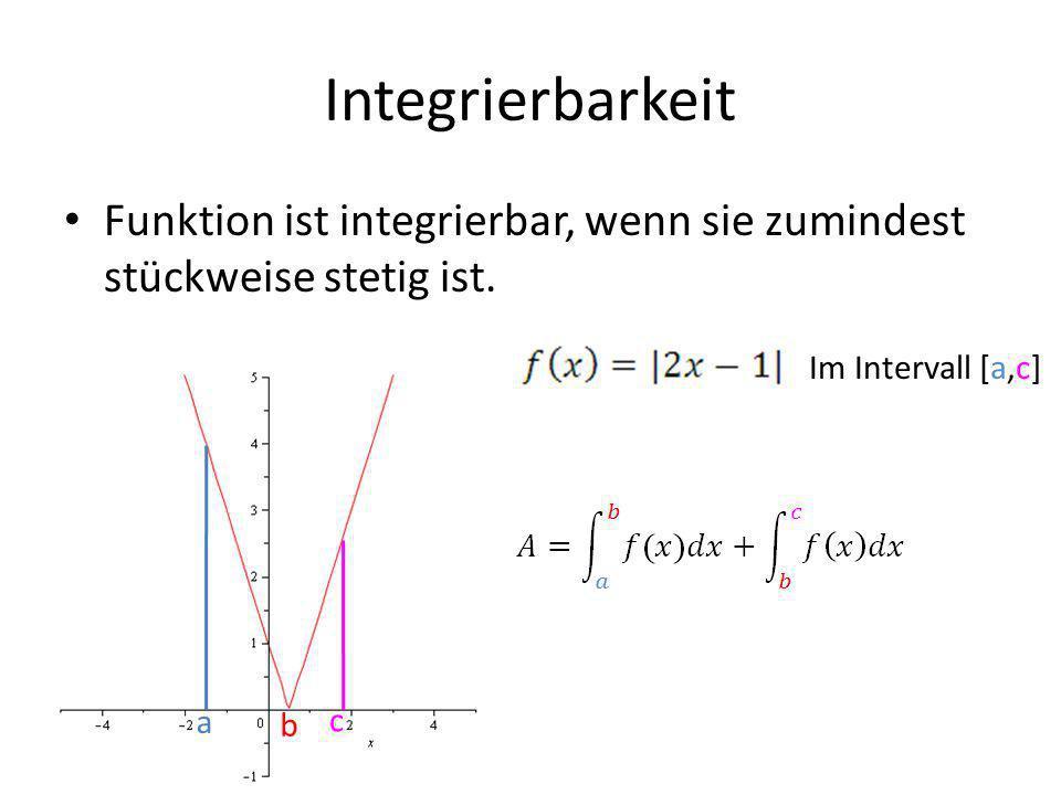 Integrierbarkeit Funktion ist integrierbar, wenn sie zumindest stückweise stetig ist.