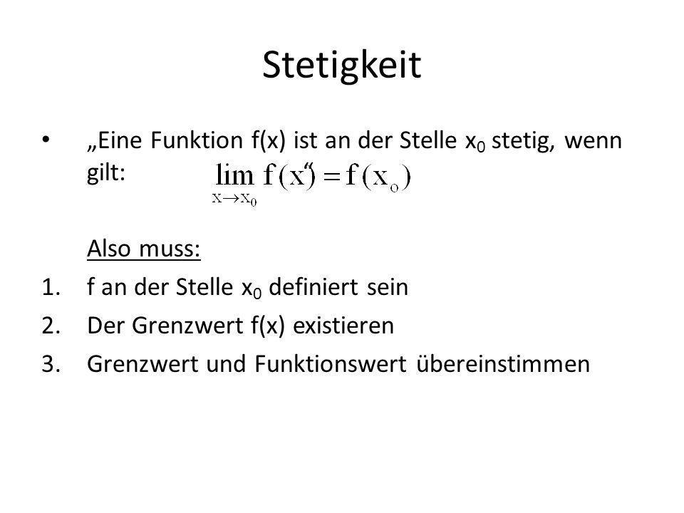 Stetigkeit Eine Funktion f(x) ist an der Stelle x 0 stetig, wenn gilt: Also muss: 1.f an der Stelle x 0 definiert sein 2.Der Grenzwert f(x) existieren 3.Grenzwert und Funktionswert übereinstimmen