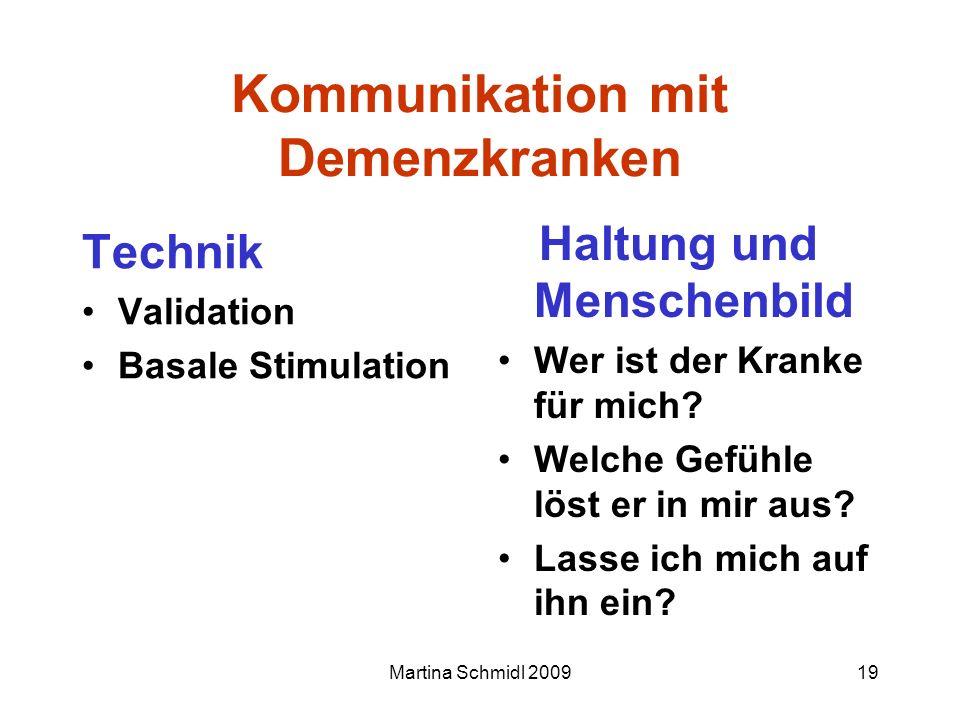 Martina Schmidl 200919 Kommunikation mit Demenzkranken Technik Validation Basale Stimulation Haltung und Menschenbild Wer ist der Kranke für mich? Wel