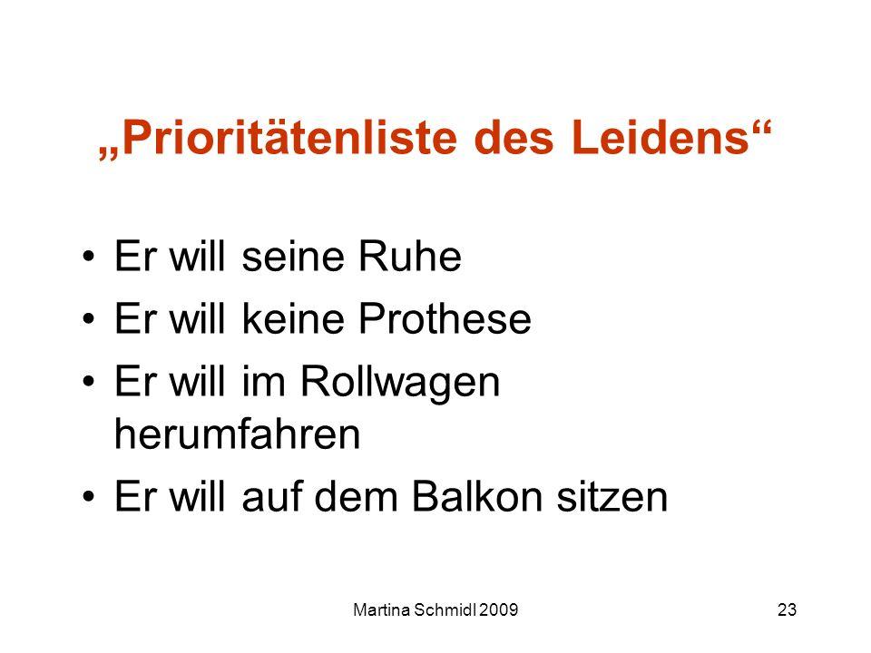 Martina Schmidl 200923 Prioritätenliste des Leidens Er will seine Ruhe Er will keine Prothese Er will im Rollwagen herumfahren Er will auf dem Balkon