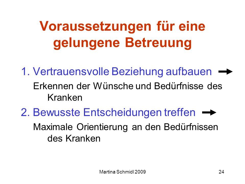 Martina Schmidl 200924 Voraussetzungen für eine gelungene Betreuung 1. Vertrauensvolle Beziehung aufbauen Erkennen der Wünsche und Bedürfnisse des Kra