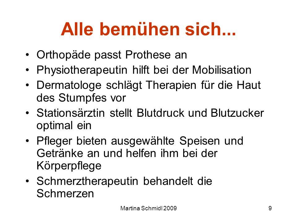 Martina Schmidl 20099 Alle bemühen sich... Orthopäde passt Prothese an Physiotherapeutin hilft bei der Mobilisation Dermatologe schlägt Therapien für