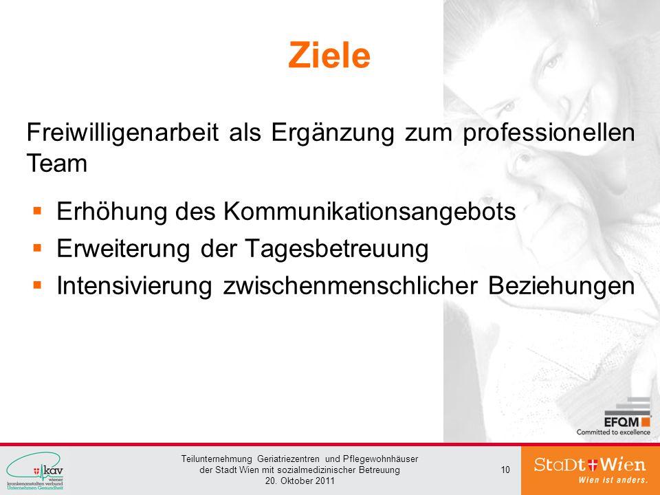Teilunternehmung Geriatriezentren und Pflegewohnhäuser der Stadt Wien mit sozialmedizinischer Betreuung 20. Oktober 2011 10 Ziele Erhöhung des Kommuni