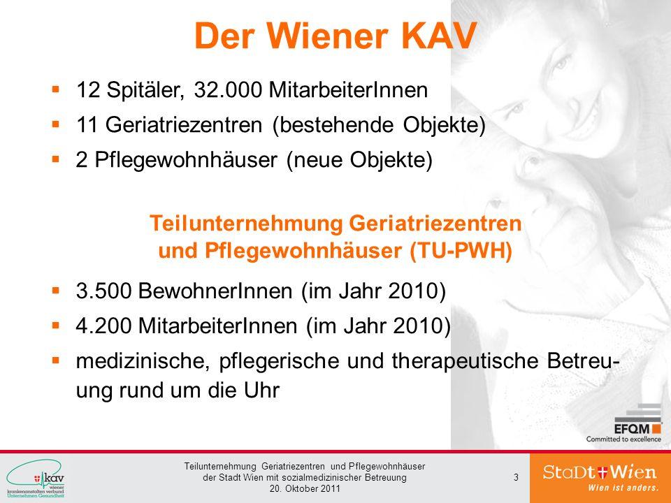 Teilunternehmung Geriatriezentren und Pflegewohnhäuser der Stadt Wien mit sozialmedizinischer Betreuung 20. Oktober 2011 3 Der Wiener KAV 3.500 Bewohn