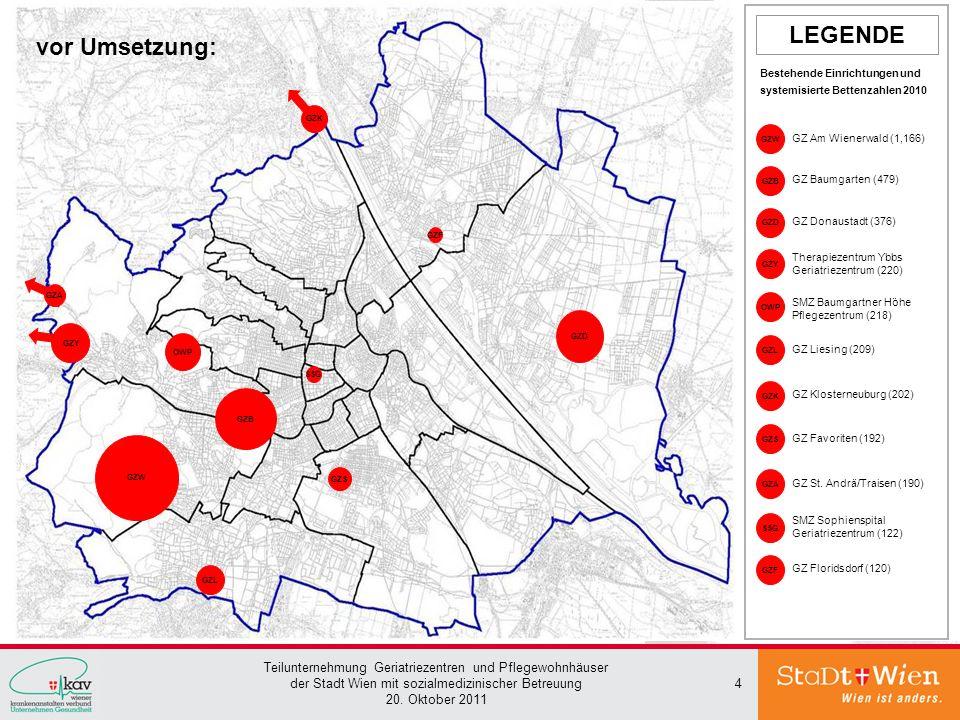 Teilunternehmung Geriatriezentren und Pflegewohnhäuser der Stadt Wien mit sozialmedizinischer Betreuung 20. Oktober 2011 4 GZB GZ Baumgarten (479) GZD