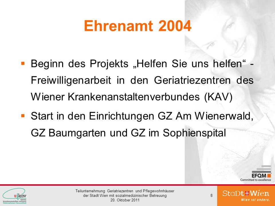 Teilunternehmung Geriatriezentren und Pflegewohnhäuser der Stadt Wien mit sozialmedizinischer Betreuung 20. Oktober 2011 8 Ehrenamt 2004 Beginn des Pr