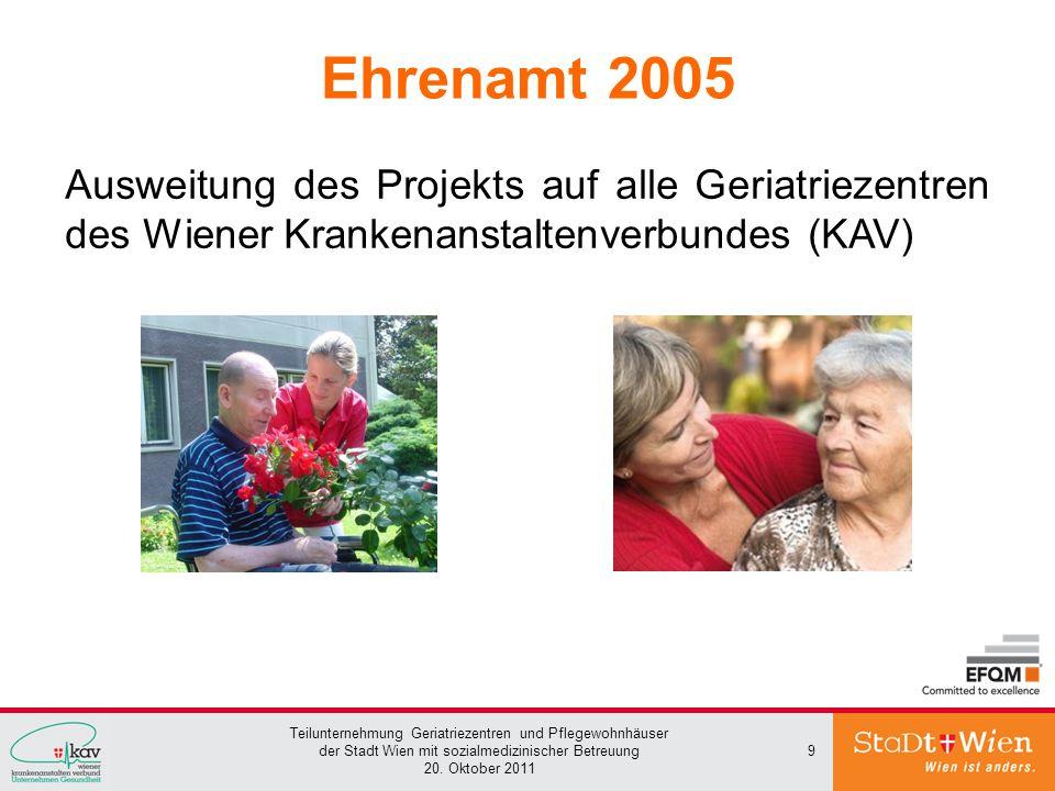 Teilunternehmung Geriatriezentren und Pflegewohnhäuser der Stadt Wien mit sozialmedizinischer Betreuung 20. Oktober 2011 9 Ehrenamt 2005 Ausweitung de