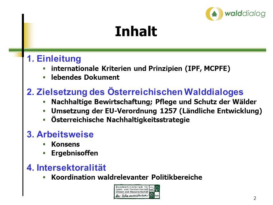 2 Inhalt 1. Einleitung internationale Kriterien und Prinzipien (IPF, MCPFE) lebendes Dokument 2. Zielsetzung des Österreichischen Walddialoges Nachhal