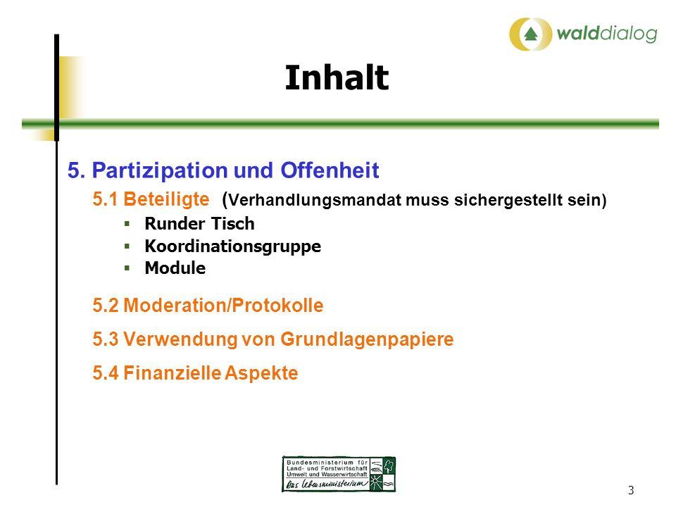 3 Inhalt 5. Partizipation und Offenheit 5.1 Beteiligte ( Verhandlungsmandat muss sichergestellt sein) Runder Tisch Koordinationsgruppe Module 5.2 Mode