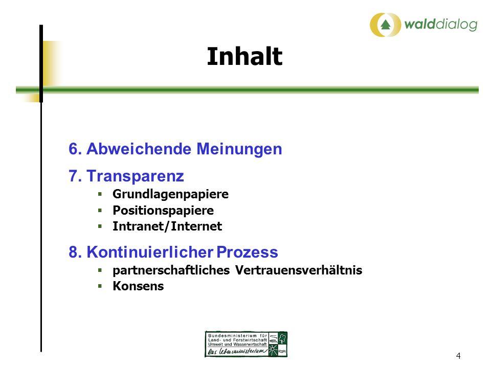 4 Inhalt 6. Abweichende Meinungen 7. Transparenz Grundlagenpapiere Positionspapiere Intranet/Internet 8. Kontinuierlicher Prozess partnerschaftliches