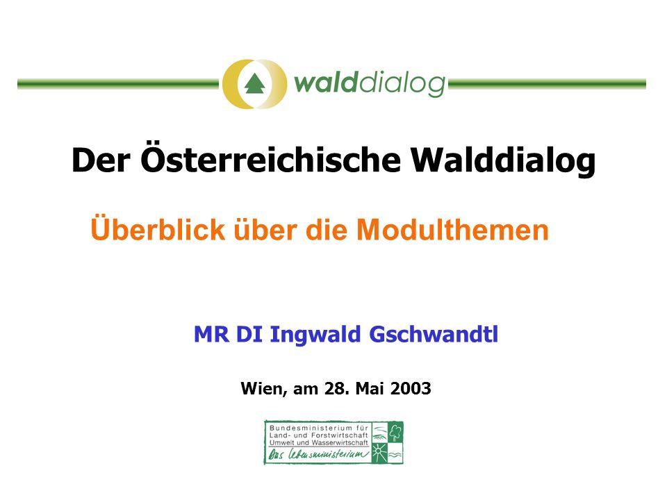 Der Österreichische Walddialog Überblick über die Modulthemen MR DI Ingwald Gschwandtl Wien, am 28. Mai 2003
