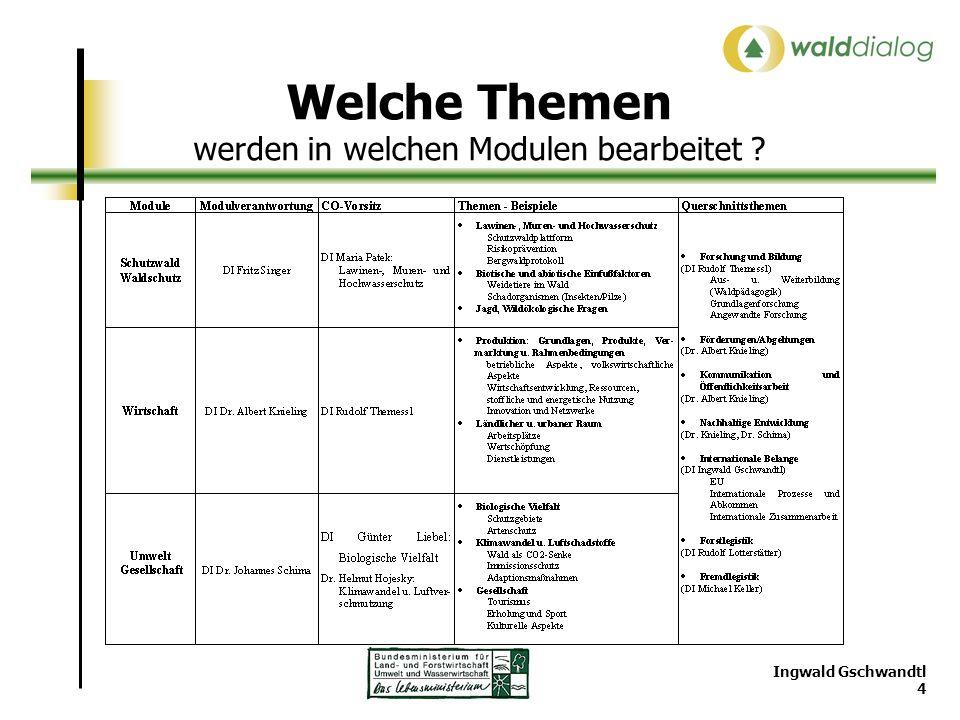 Ingwald Gschwandtl 4 Welche Themen werden in welchen Modulen bearbeitet