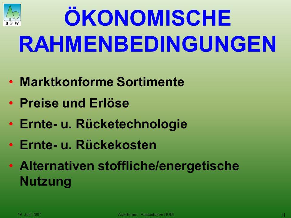 19. Juni 2007Waldforum - Präsentation HOBI 11 Marktkonforme Sortimente Preise und Erlöse Ernte- u.