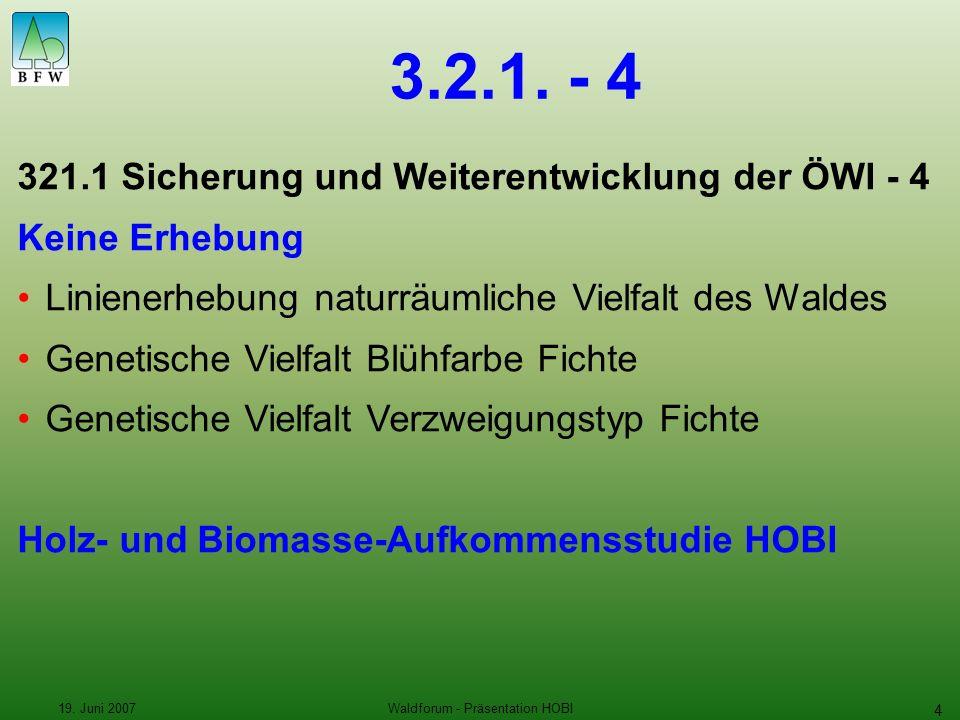 19. Juni 2007Waldforum - Präsentation HOBI 4 3.2.1.