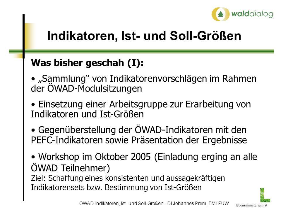 ÖWAD Indikatoren, Ist- und Soll-Größen - DI Johannes Prem, BMLFUW Indikatoren, Ist- und Soll-Größen Was bisher geschah (I): Sammlung von Indikatorenvorschlägen im Rahmen der ÖWAD-Modulsitzungen Einsetzung einer Arbeitsgruppe zur Erarbeitung von Indikatoren und Ist-Größen Gegenüberstellung der ÖWAD-Indikatoren mit den PEFC-Indikatoren sowie Präsentation der Ergebnisse Workshop im Oktober 2005 (Einladung erging an alle ÖWAD Teilnehmer) Ziel: Schaffung eines konsistenten und aussagekräftigen Indikatorensets bzw.