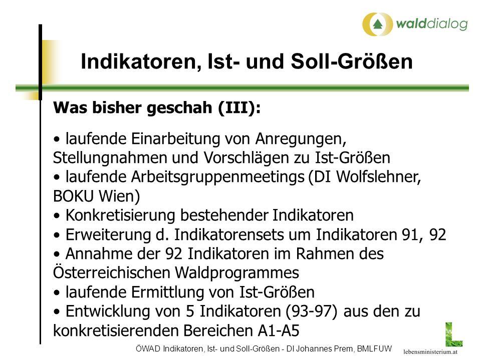ÖWAD Indikatoren, Ist- und Soll-Größen - DI Johannes Prem, BMLFUW Indikatoren, Ist- und Soll-Größen Was bisher geschah (III): laufende Einarbeitung von Anregungen, Stellungnahmen und Vorschlägen zu Ist-Größen laufende Arbeitsgruppenmeetings (DI Wolfslehner, BOKU Wien) Konkretisierung bestehender Indikatoren Erweiterung d.