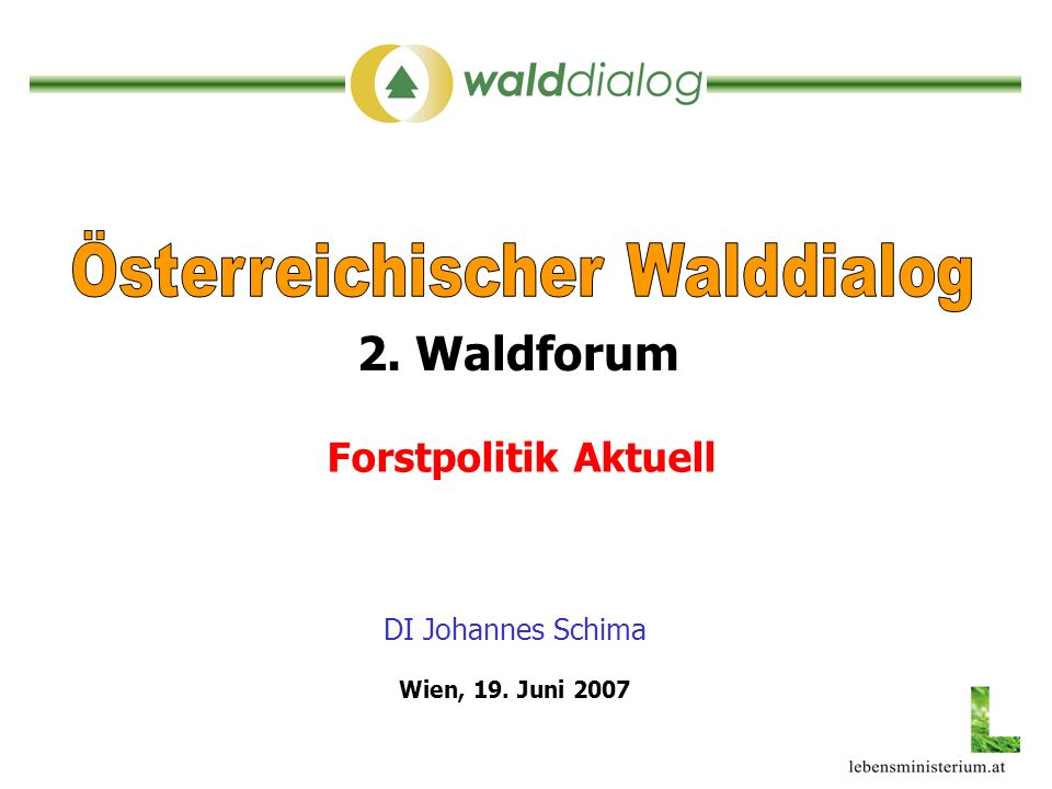 DI Johannes Schima Forstpolitik Aktuell 2. Waldforum Wien, 19. Juni 2007