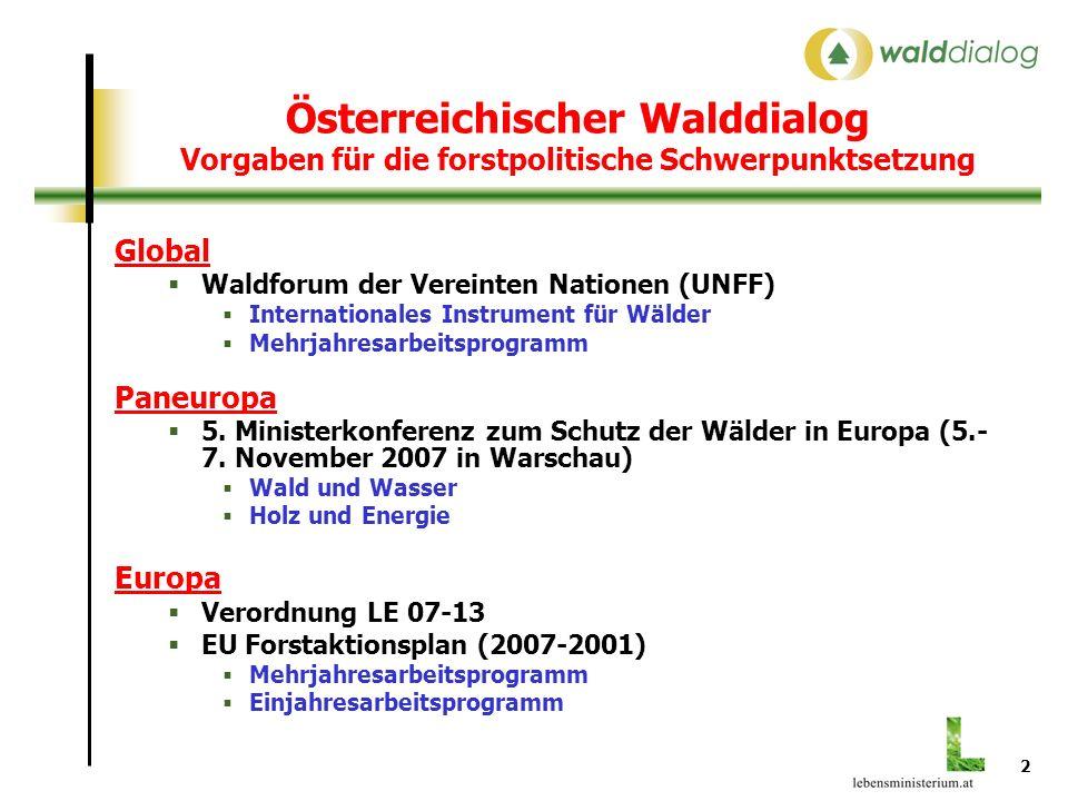 2 Österreichischer Walddialog Vorgaben für die forstpolitische Schwerpunktsetzung Global Waldforum der Vereinten Nationen (UNFF) Internationales Instrument für Wälder Mehrjahresarbeitsprogramm Paneuropa 5.